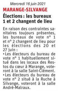 Elections : les bureau 1 et 2 changent de lieu