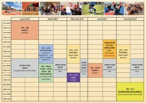 Calendrier du 19 au 23 juillet 2021