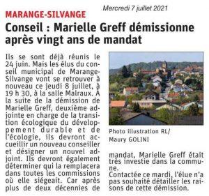 Conseil : Marielle Greff démissionne après 20 ans de mandat