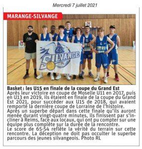 Basket : les U15 en finale de la coupe du Grand Est